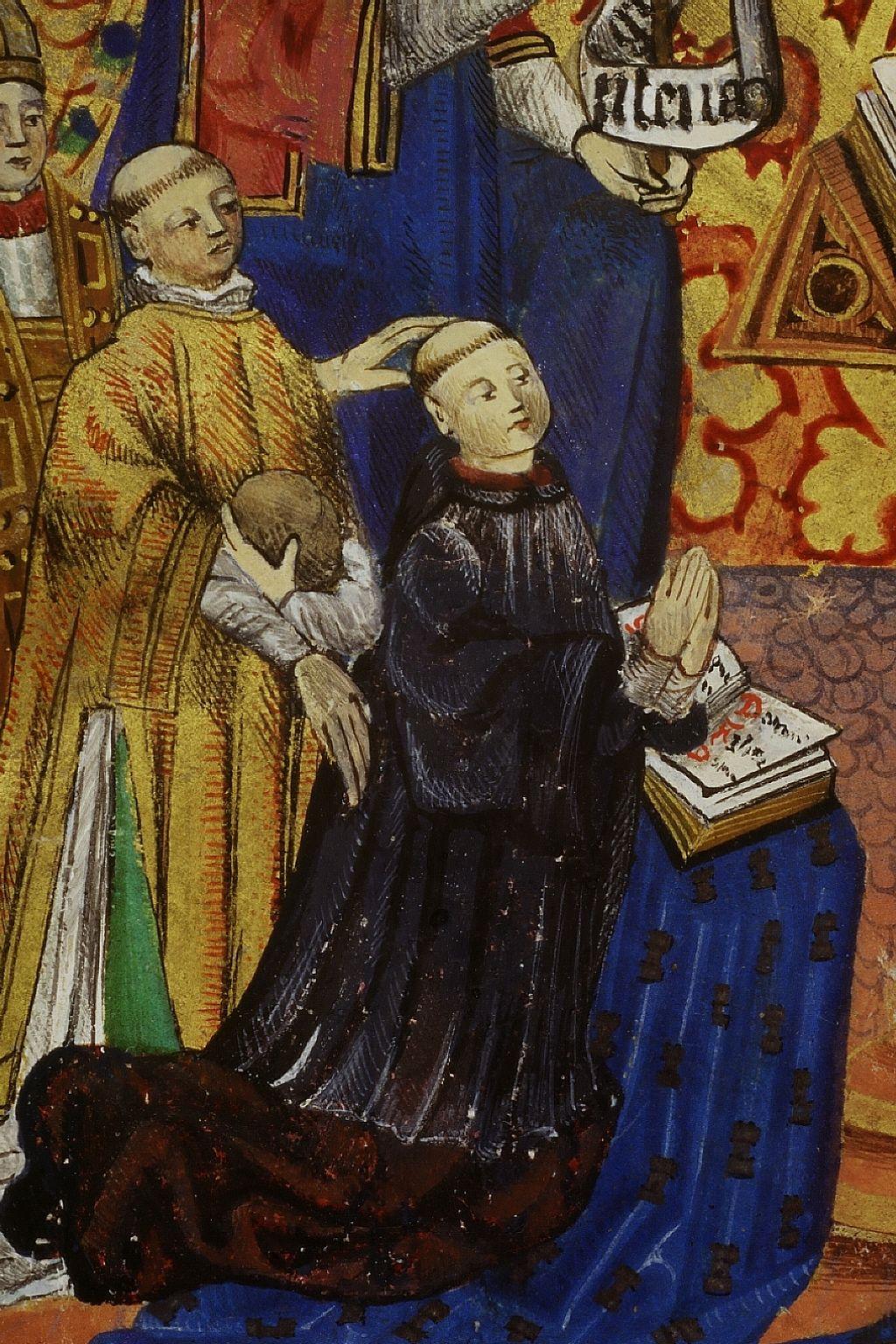 Pontifical à l'usage de Périgueux, XVé siécle. Miniature, détail de l'Annonciation : saint Nicolas, saint Étienne, et agenouillé, le donateur, un ecclésiastique portant surplis.