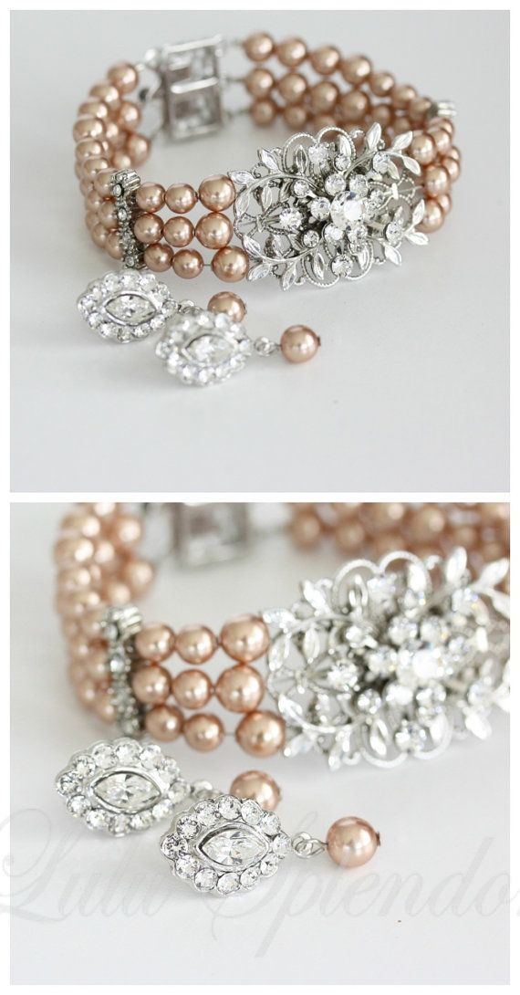 Leaf Wedding Bracelet And Earrings Set Vintage Style Rose Gold Pearl Bridal Jewelry Genoa On Etsy 115 00