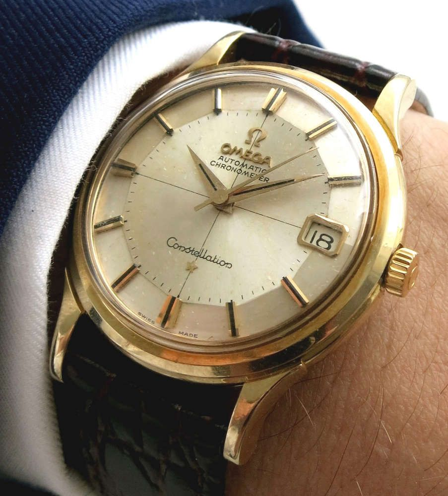 8794ac0ef75 Omega Constellation Pie Pan - crosshair Dial Full Gold with date ...