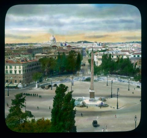 Rome Piazza Del Popolo Aerial View West From Pincio With