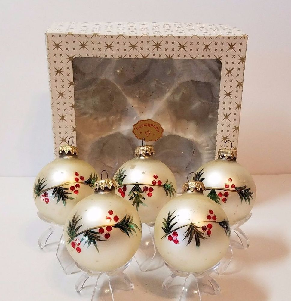 "Mercury Glass Decorative Balls 5X 3"" Vintage Mercury Glass Christmas Tree Ball Ornaments West"
