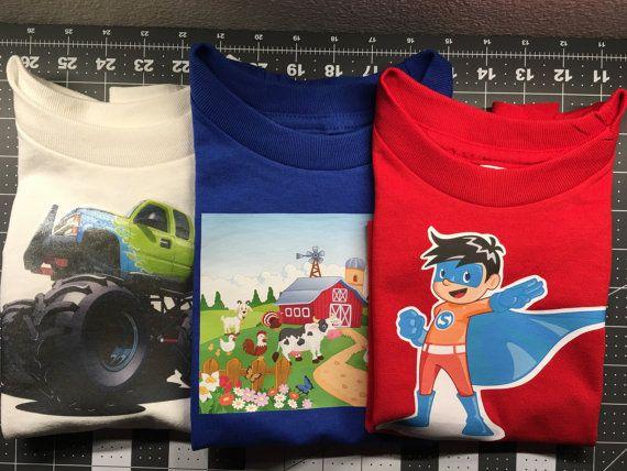 Toddler Shirts 2 to 4T lot of 3 Shirts, Truck, Superhero, Farm, Gift Set, T-Shirts, Boys Shirts, Boys
