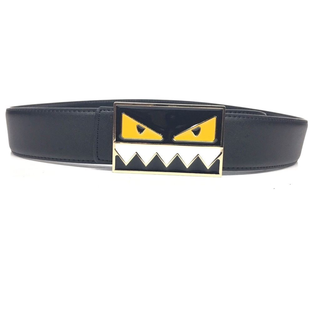 0550f50661 FENDI Monster Belt | Size 34 or 85 cm | Black Leather | Black Buckle ...