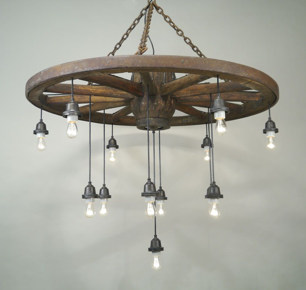 Wagon Wheel Light Fixture With Mason Jars Web