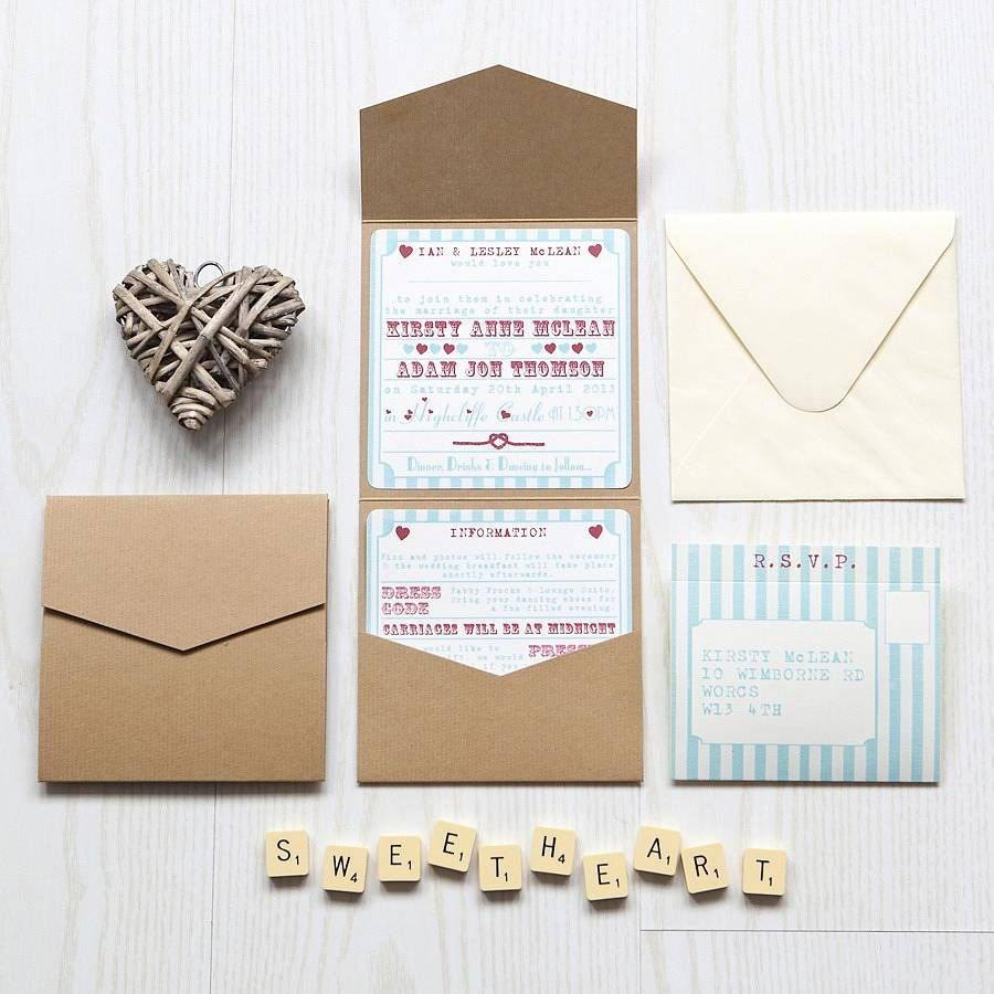 Elegant Pocketfold Wedding Invitation Heart Funfair