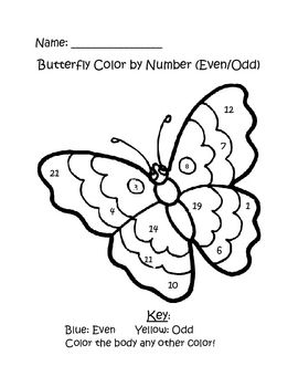 This packet includes two butterfly color by number