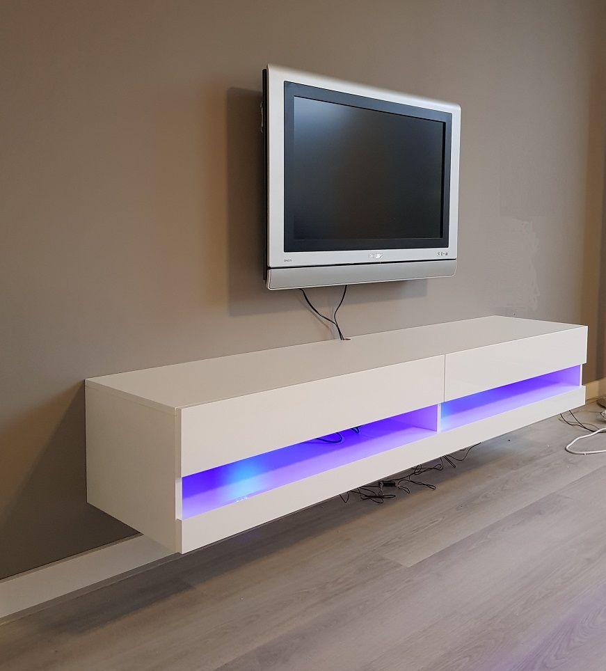 Zwevend tv-meubel Hoogglans wit met LED verlichting | Woonkamerstijlen, Witte  tv meubels, Meubels