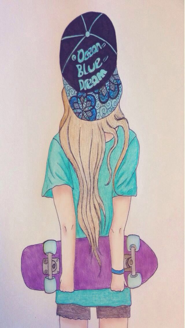 A Girl With A Skateboard Desenhos Desenhos De Meninas Menina