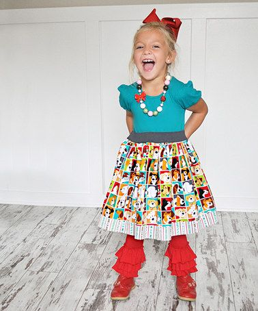 Another great find on #zulily! Teal Daisy Dog Puff-Sleeve Dress - Infant, Toddler & Girls #zulilyfinds