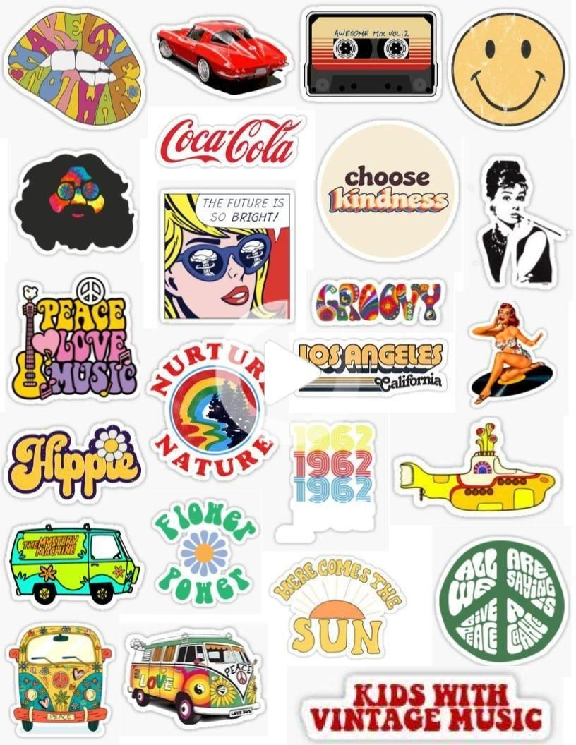 60 S Stickers In 2020 Aesthetic Stickers Hydroflask Stickers Cute Stickers