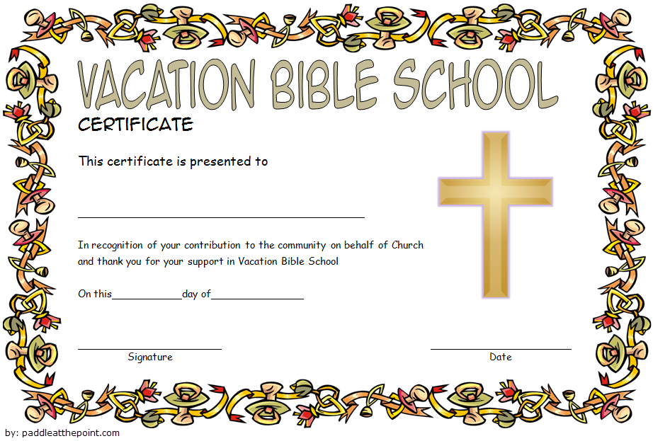 Vbs Certificate Of Completion Free Printable 2 School Certificates Free Vacation Bible School Certificate Templates