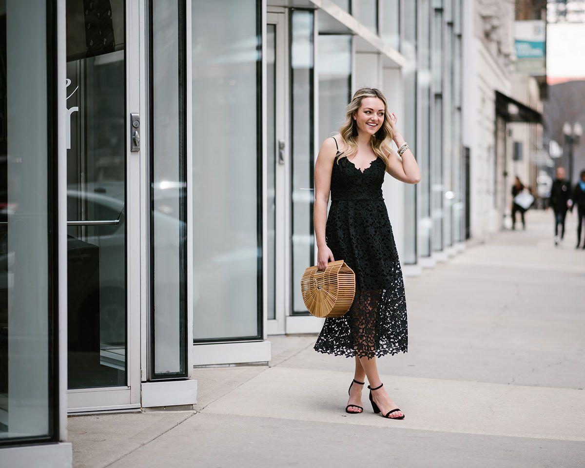 Summer Wedding Guest Black Lace Midi Dress Bows Sequins Black Lace Midi Dress Dresses Lace Midi Dress [ 960 x 1200 Pixel ]