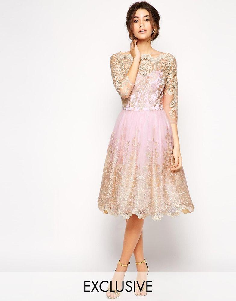 Chi Chi London Premium Metallic Lace Midi Prom Dress W Bardot Neck Uk 10 Eu 38 Metallic Lace Dress Lace Dress High Street Bridesmaid Dresses