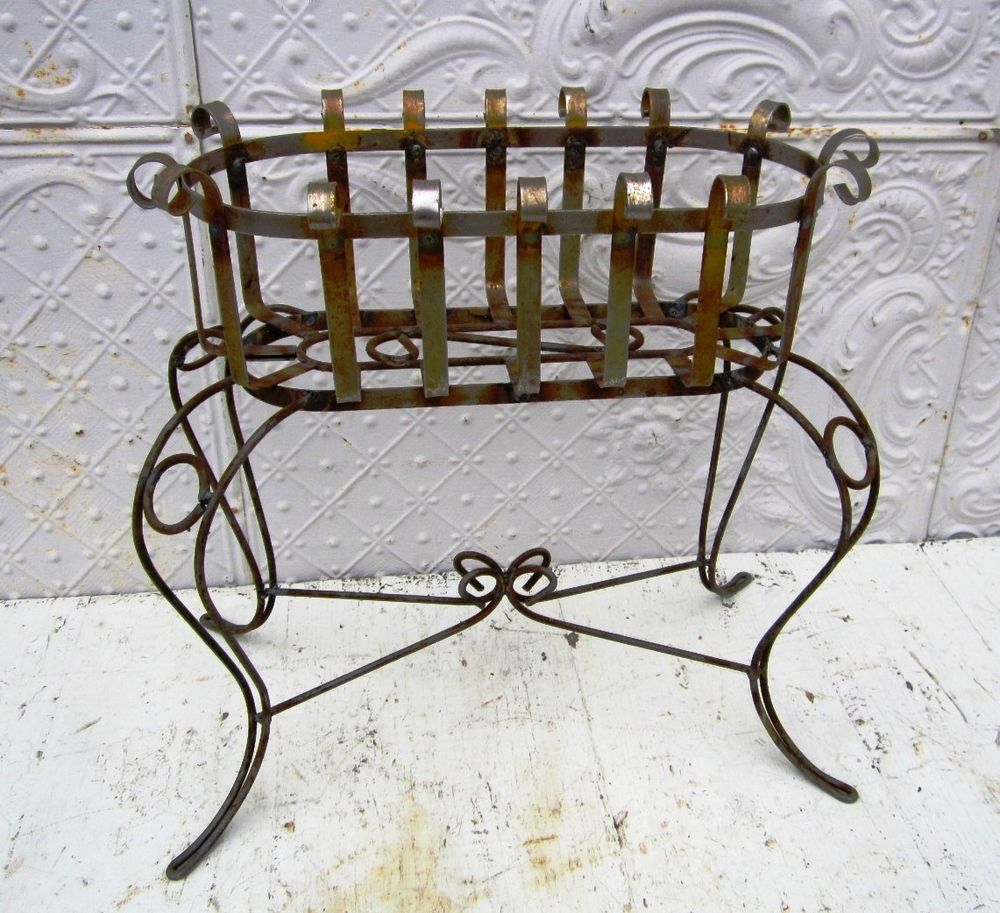 Details About 34 Quot Wrought Iron Deep Basket Plant Stand