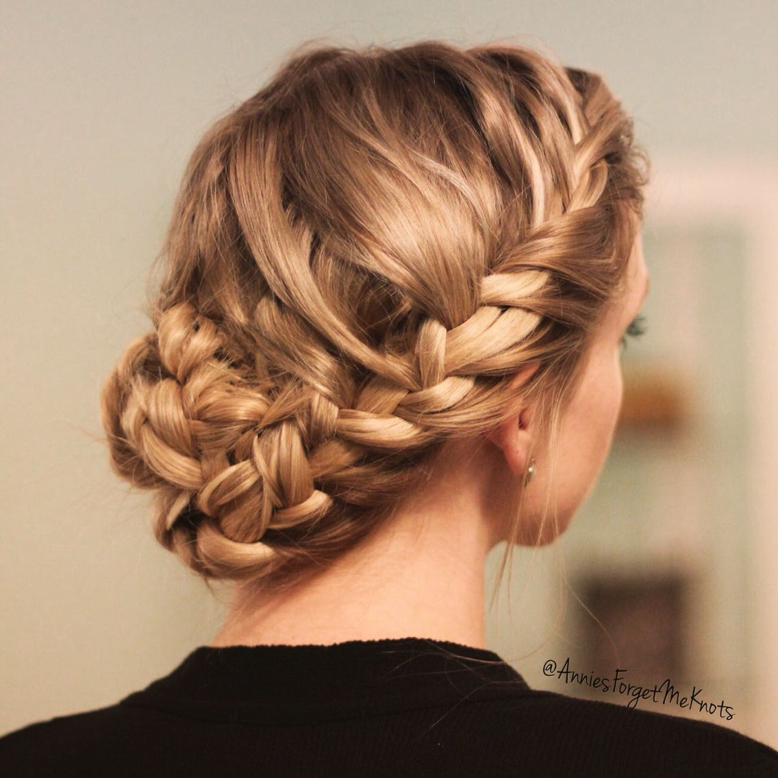 Loose French Braids On Both Sides Into A Braided Bun French