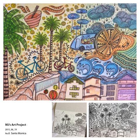 MJ: Santa Monica #Pen #Watercolor #Santa_Monica #LA #Mixedmedia #Artproject