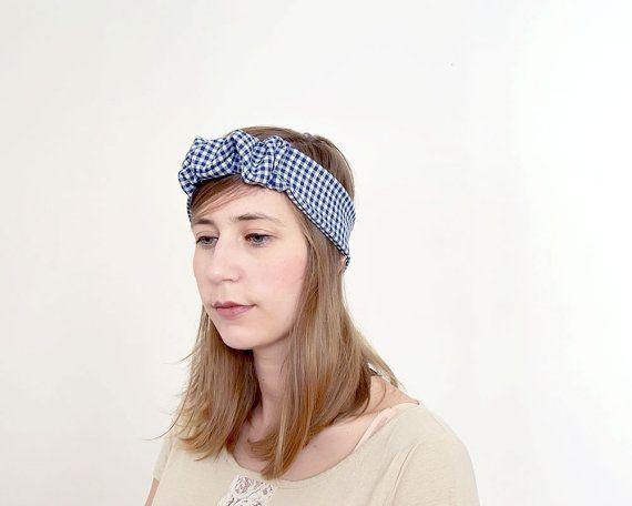 headband à fronces vichy bleu et blanc Maxi ou Medium - La mallette des minettes