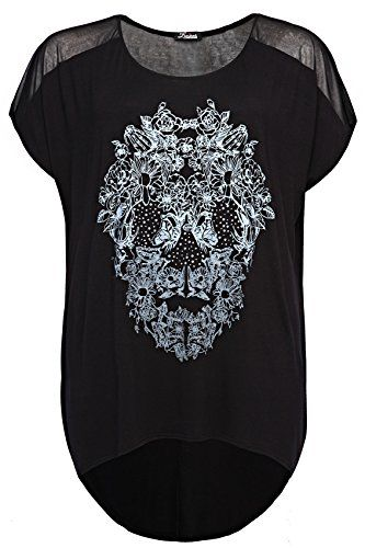 competitive price exclusive shoes on feet shots of Women's Plus Size Skull T-Shirt With Sheer Insert | Skull ...