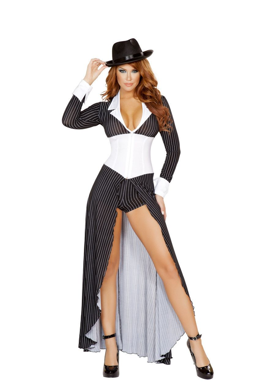 1c44af79a966 Sexy Roma Black White Mafia Mama Al Capone Mobster Gangster Mafia Mob Boss  Halloween Party Costume Long Coat Shorts