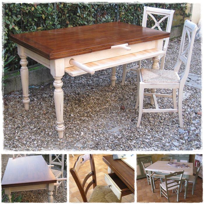 Tavolo country finitura shabby chic con asse pasta in legno su www ...