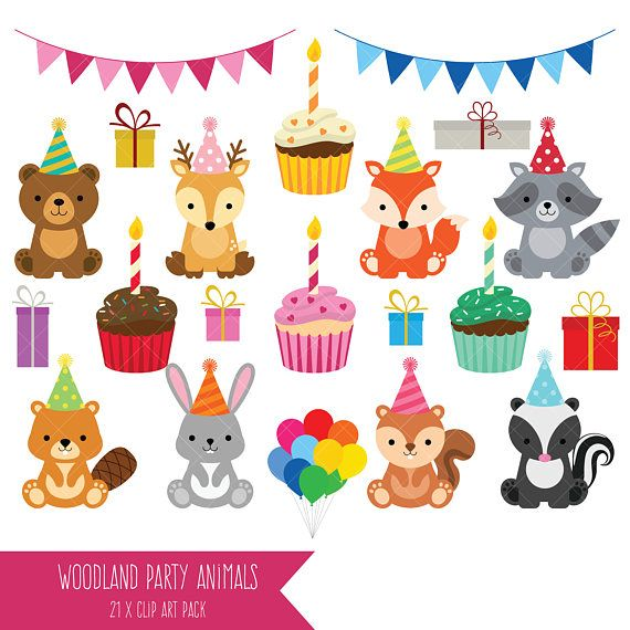 Woodland Party Animals Clipart Cute Birthday Animals Clip Art Animal Party Animal Birthday Birthday Party Clipart