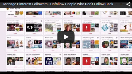 Manage Pinterest Followers - Unfollow People Who Don't Follow Back
