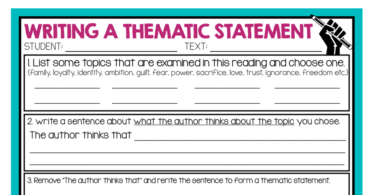 Thematic Statement Graphic Organizer Pdf Teaching Themes High School Inspiration 8th Grade Reading