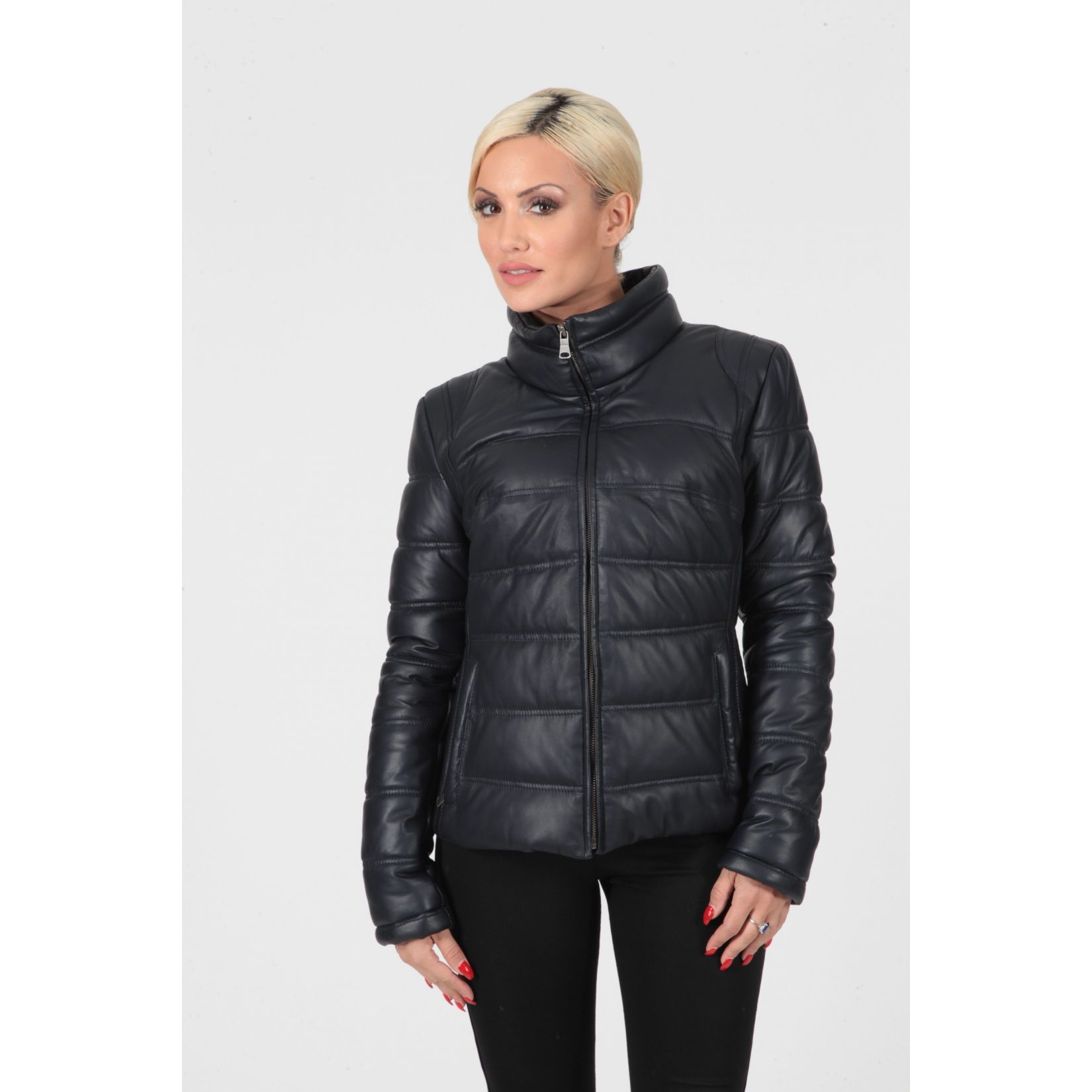 Women's indigo navy blue padded and quilted real leather