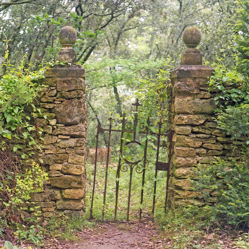 Old Wrought Iron Gate, Photograph, Golden Stone Wall ...