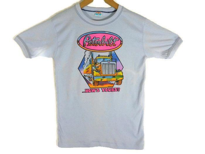 1ef3499fd76c2 Vintage 70s Peterbilt Ringer Tee - Small - Neon - Trucker Clothing ...