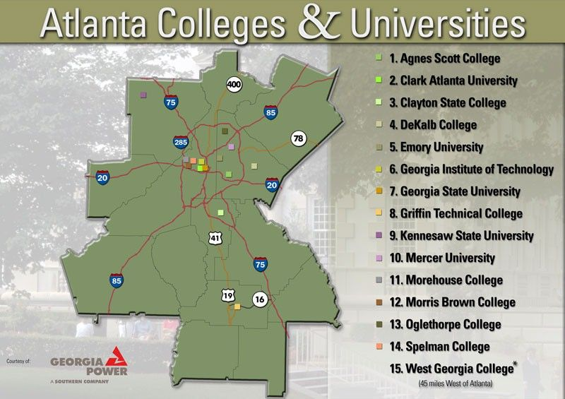 Map Of Colleges In Georgia.Atlanta Colleges Universities Oh Atlanta Spelman College