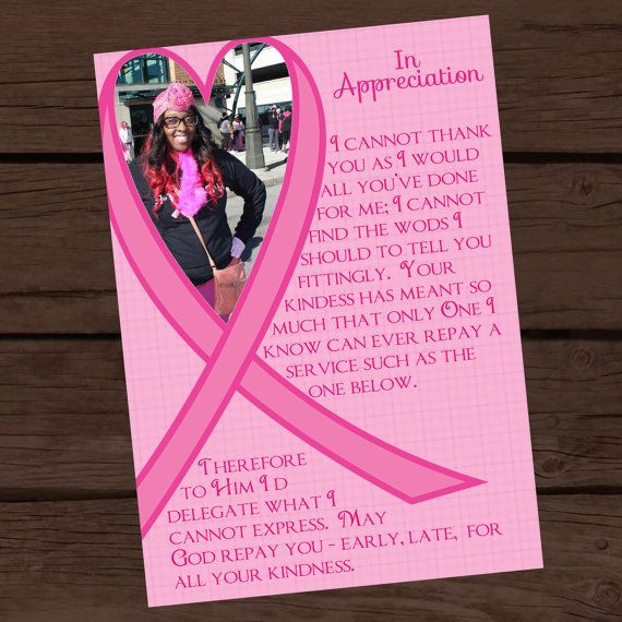 Breast cancer awareness thank you card Christmas cards - fund raiser thank you letter