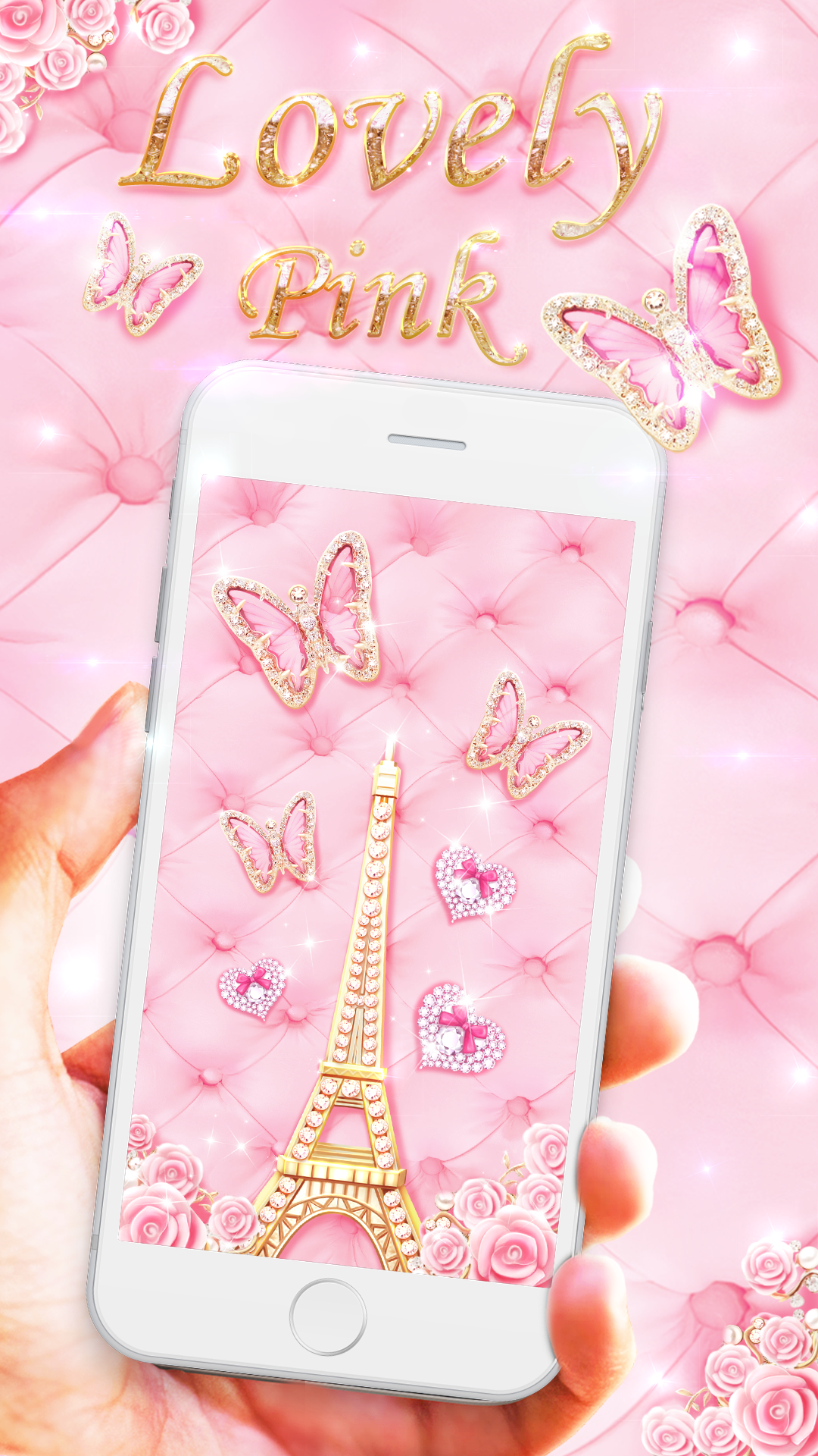 Android live wallpaper pink butterfly gold eiffel toer pink