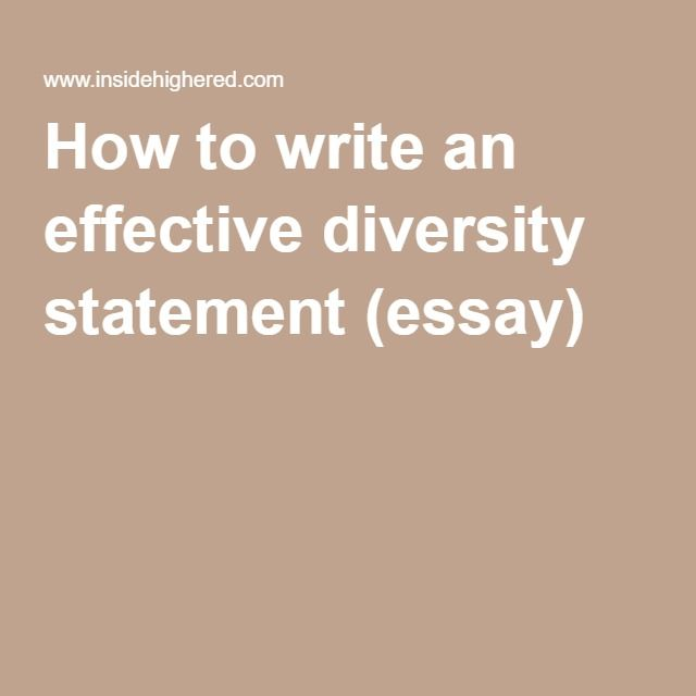 How To Write An Effective Diversity Statement Essay  Resume