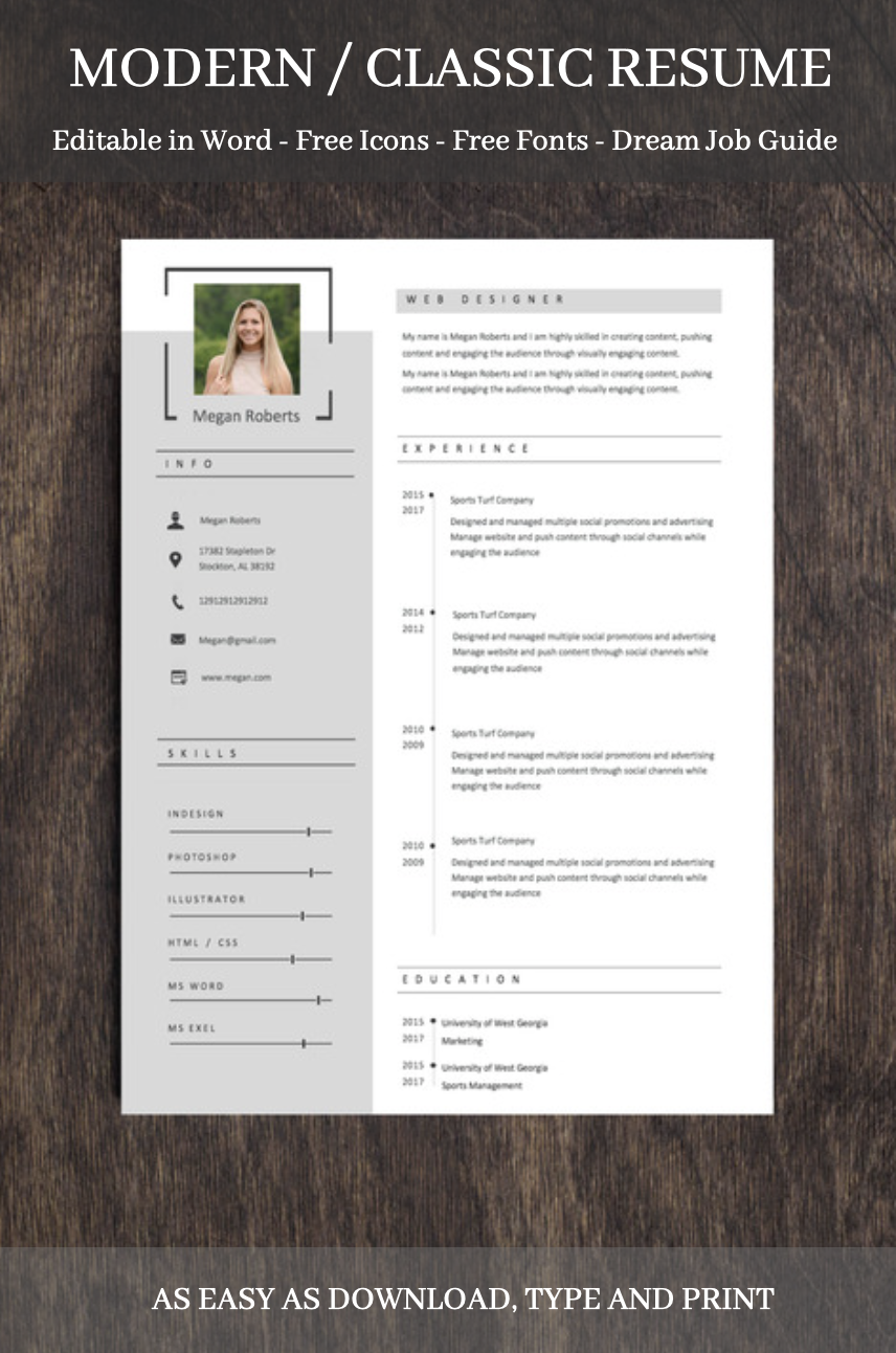 Modern Resume Template With Photo Resume Template Word