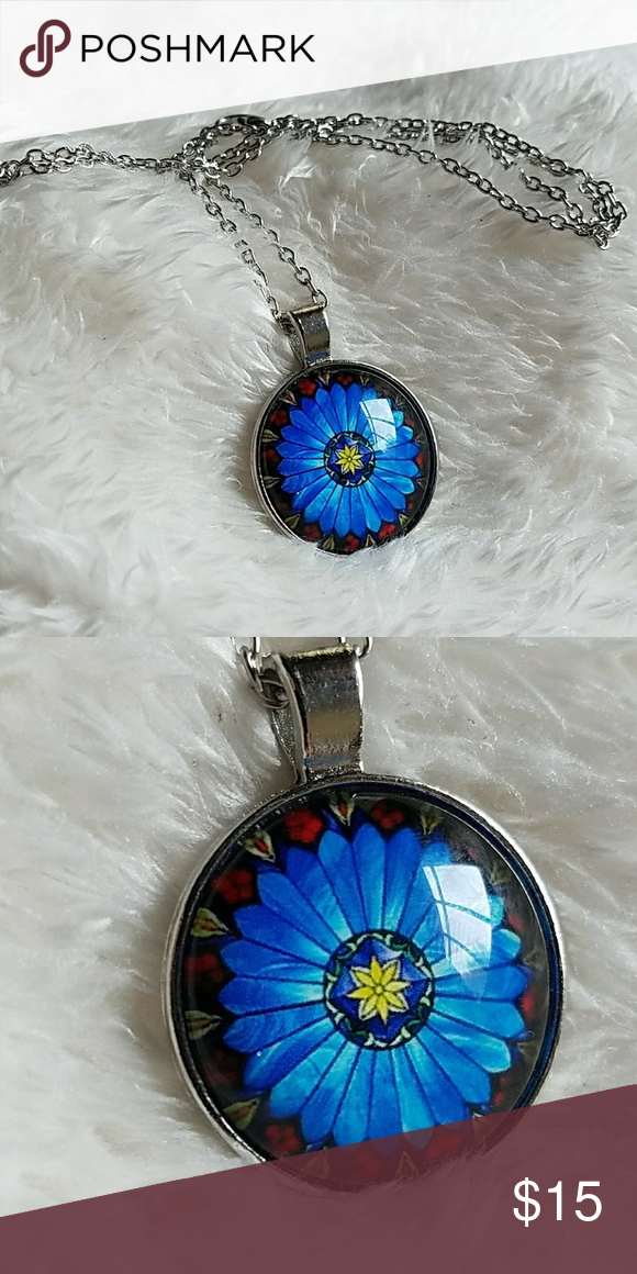 Stained Glass BLUE Flower Cabochan necklace Jewelry Necklaces