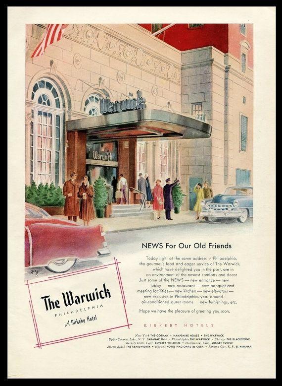 1953 Warwick Hotel Philadelphia Vintage Ad Kirkeby Hotels