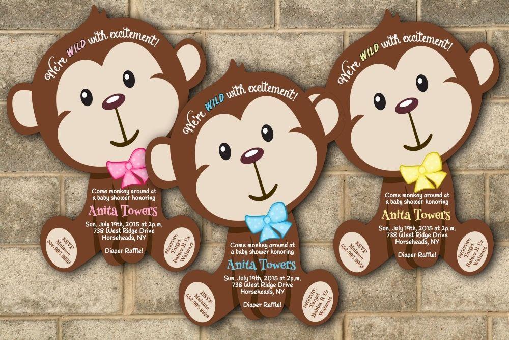 30 Jungle Monkey Safari Baby Shower Invitations Boy Girl Invitation ...