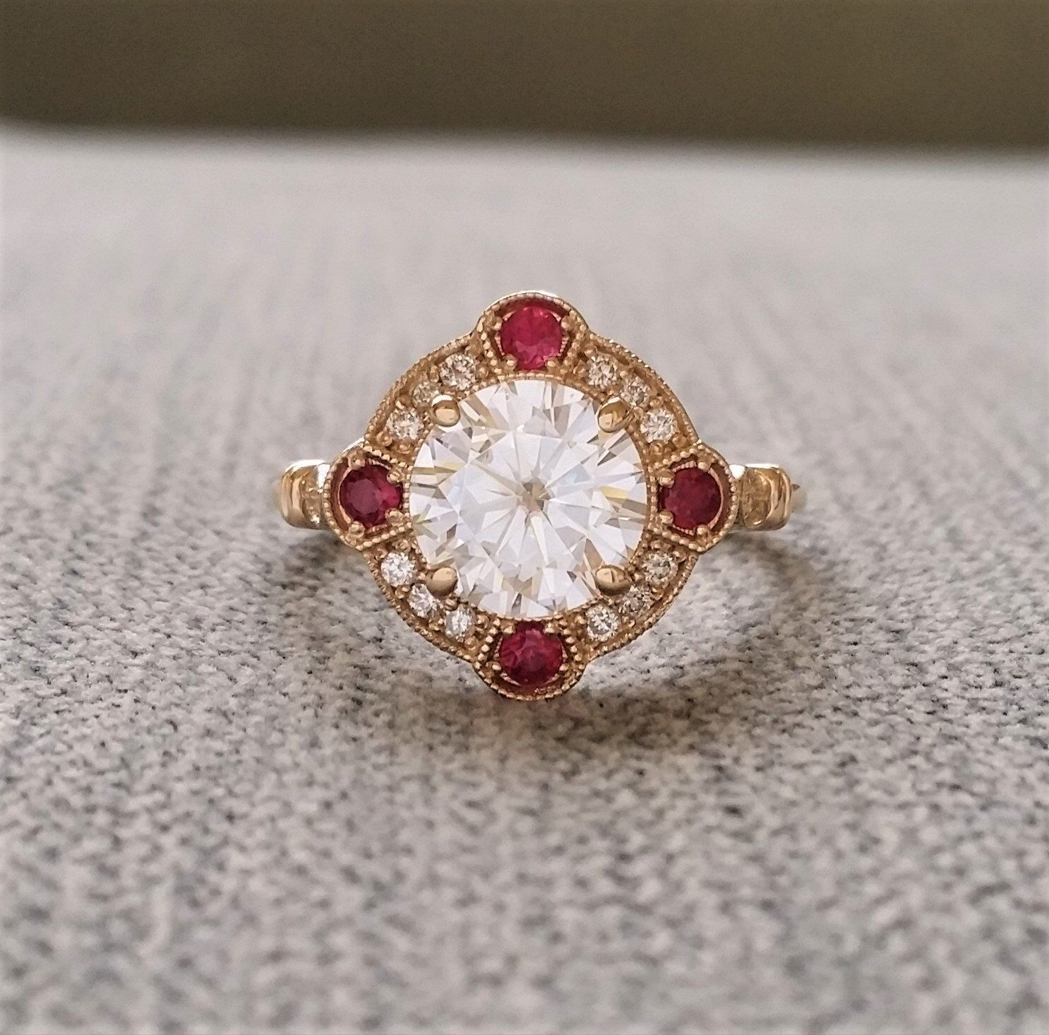 Estate halo ef moissanite ruby diamond antique engagement ring
