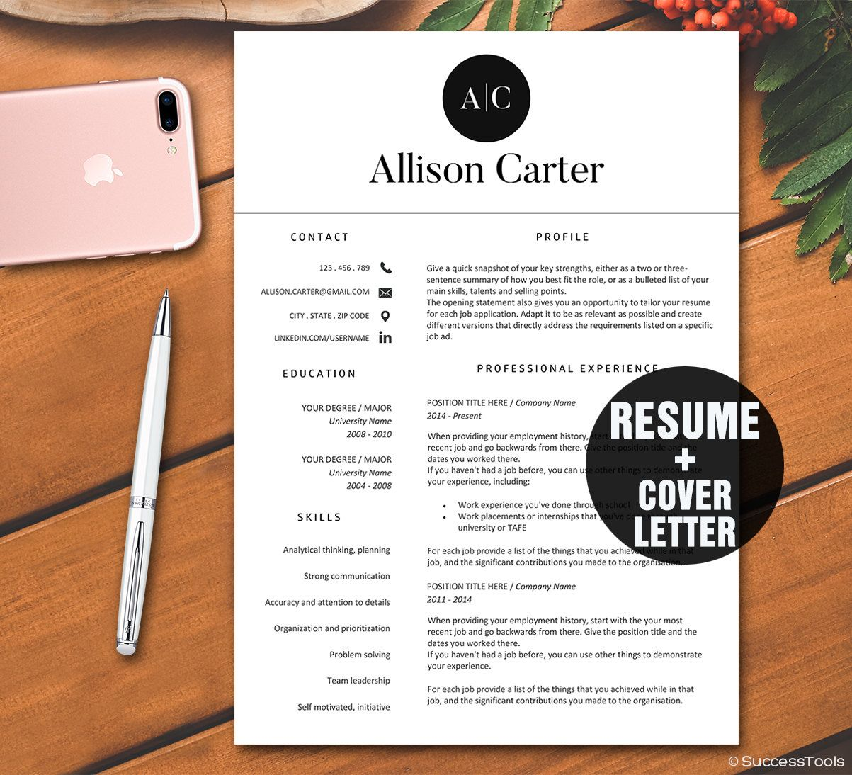 Resume Template Instant DownloadCv Template  Resume Template For