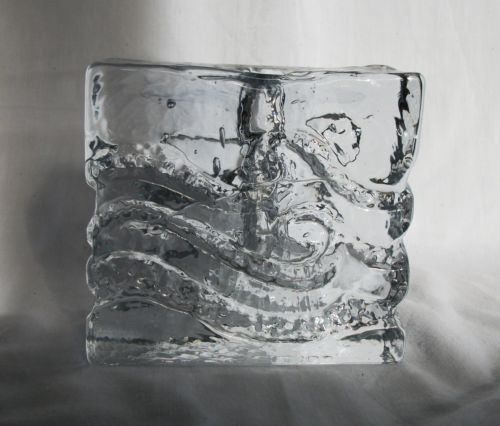Pukeberg Textured Scandinavian Crystal Clear Art Glass Retro 1960 70 S Vase