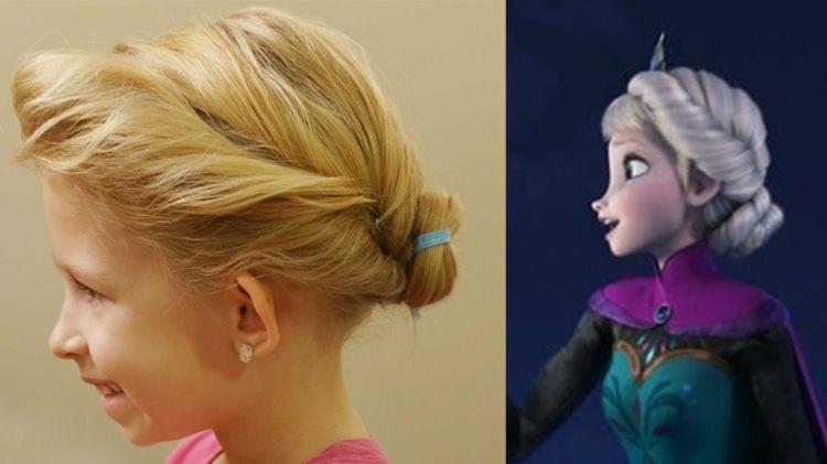 Hochsteckfrisur Von Elsa Bei Der Kronung Frisur Hochgesteckt Prinzessinnenfrisuren Haartutorial