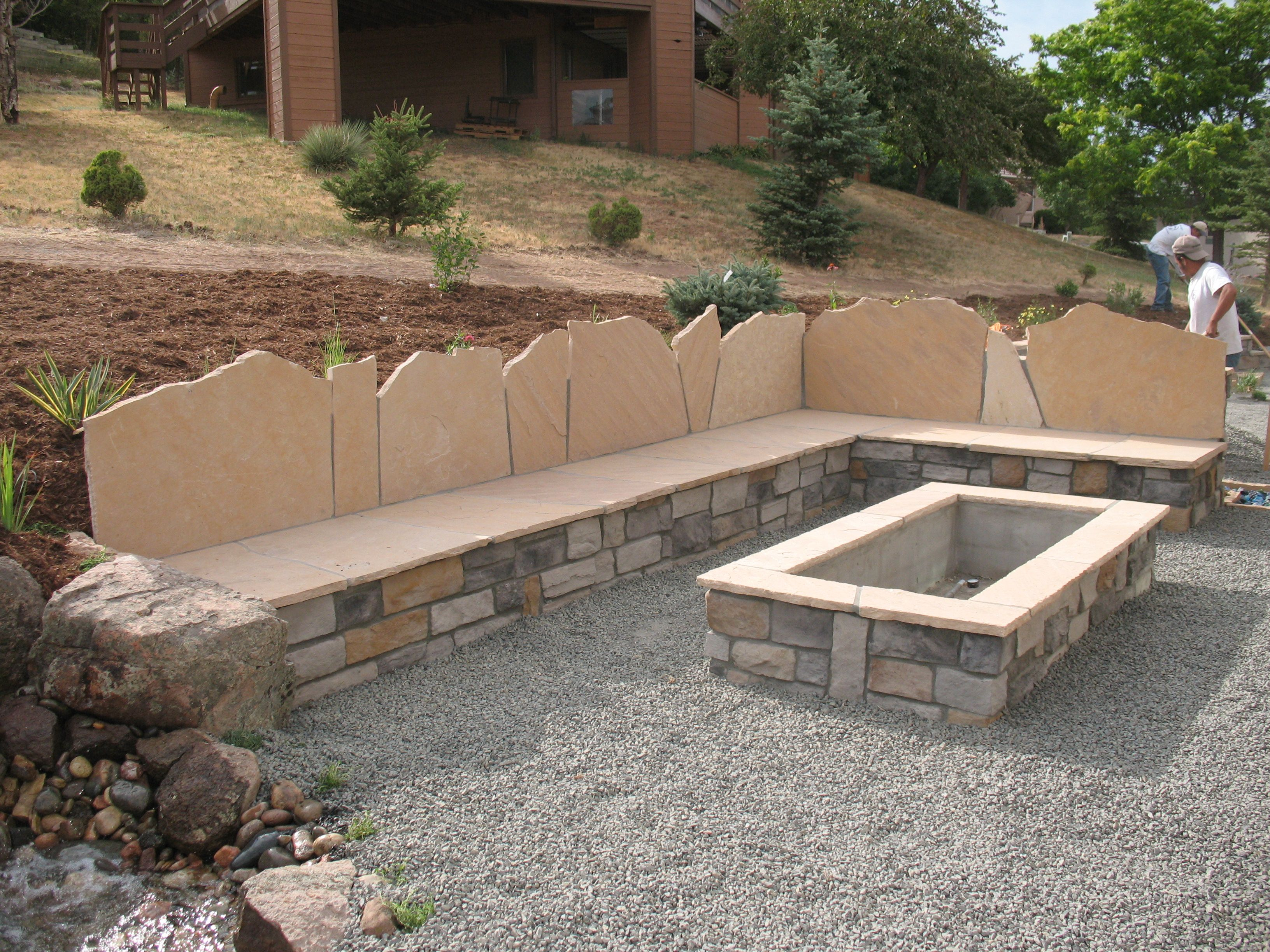 1608g rectangle stone firepit seat wall with back for Rectangular stone fire pit