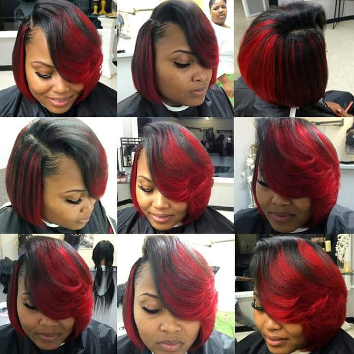 Red And Black Bob Quick Weave Hairstyles Hair Styles Burgundy Hair Dye