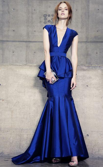 Vestidos de noche color azul rey