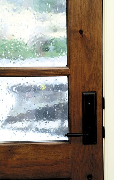 5 Panel Pocket Door With Seedy Glass For Mudroom Kitchen