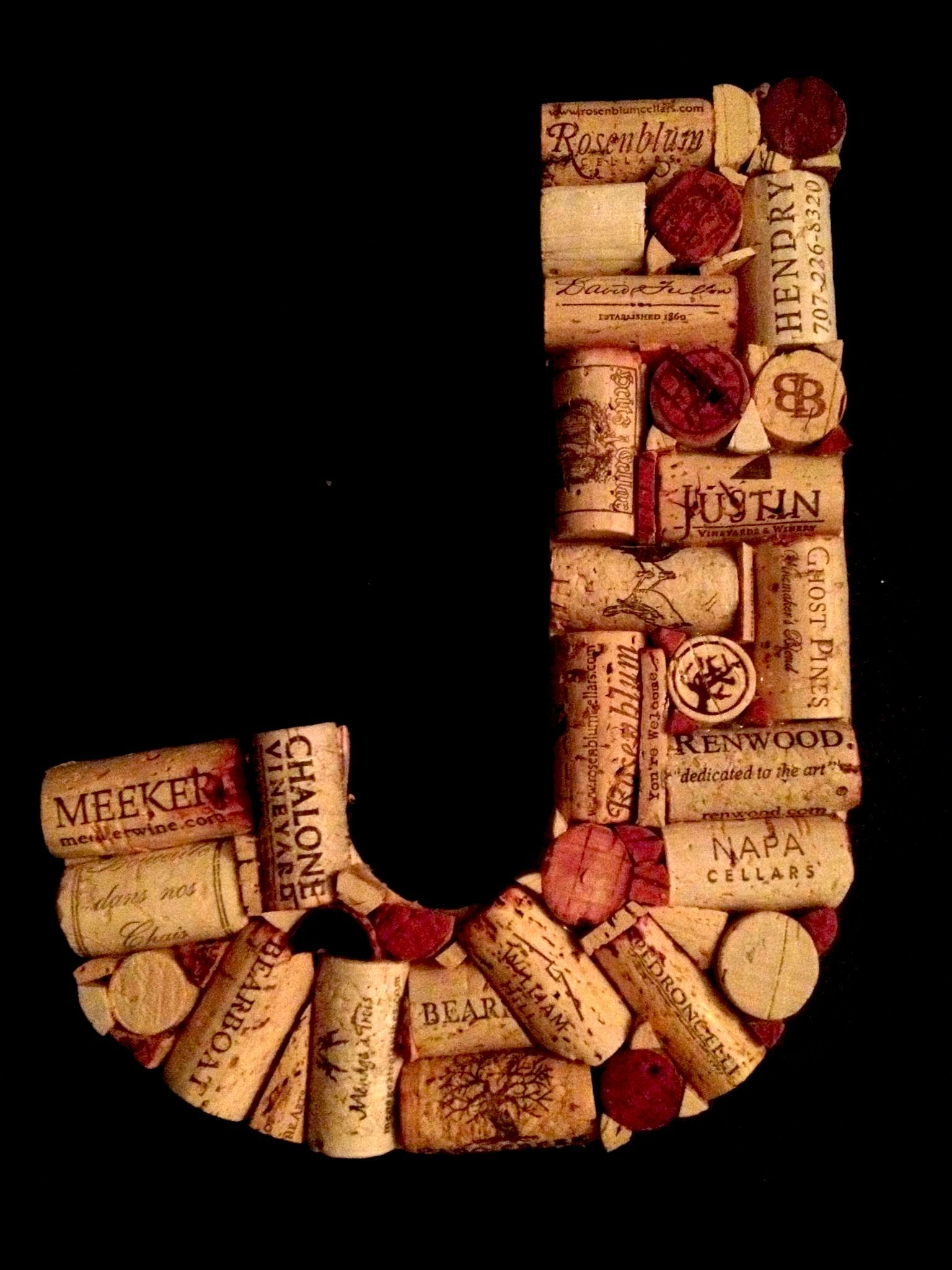 My wine cork Letter J for my new G & J wall.