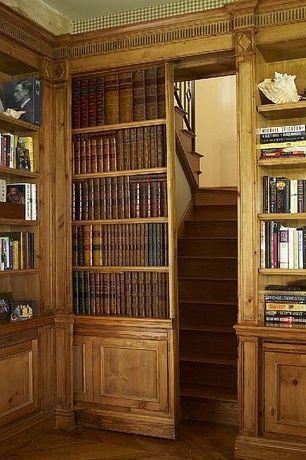 Craftsman Home Office With Built In Bookshelf, Czar Floors Herringbone  Flooring, Hardwood Floors