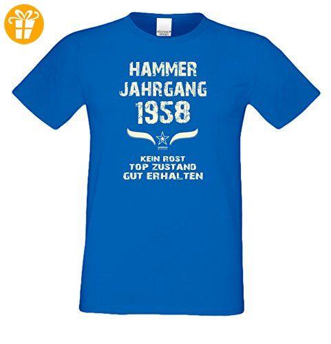 Geburtstag :-: Geschenkidee Herren kurzarm Geburtstags-Sprüche T-Shirt mit Jahreszahl  :-: Hammer Jahrgang 1958 :-: Geburtstagsgeschenk Männer :-: Farbe: ...