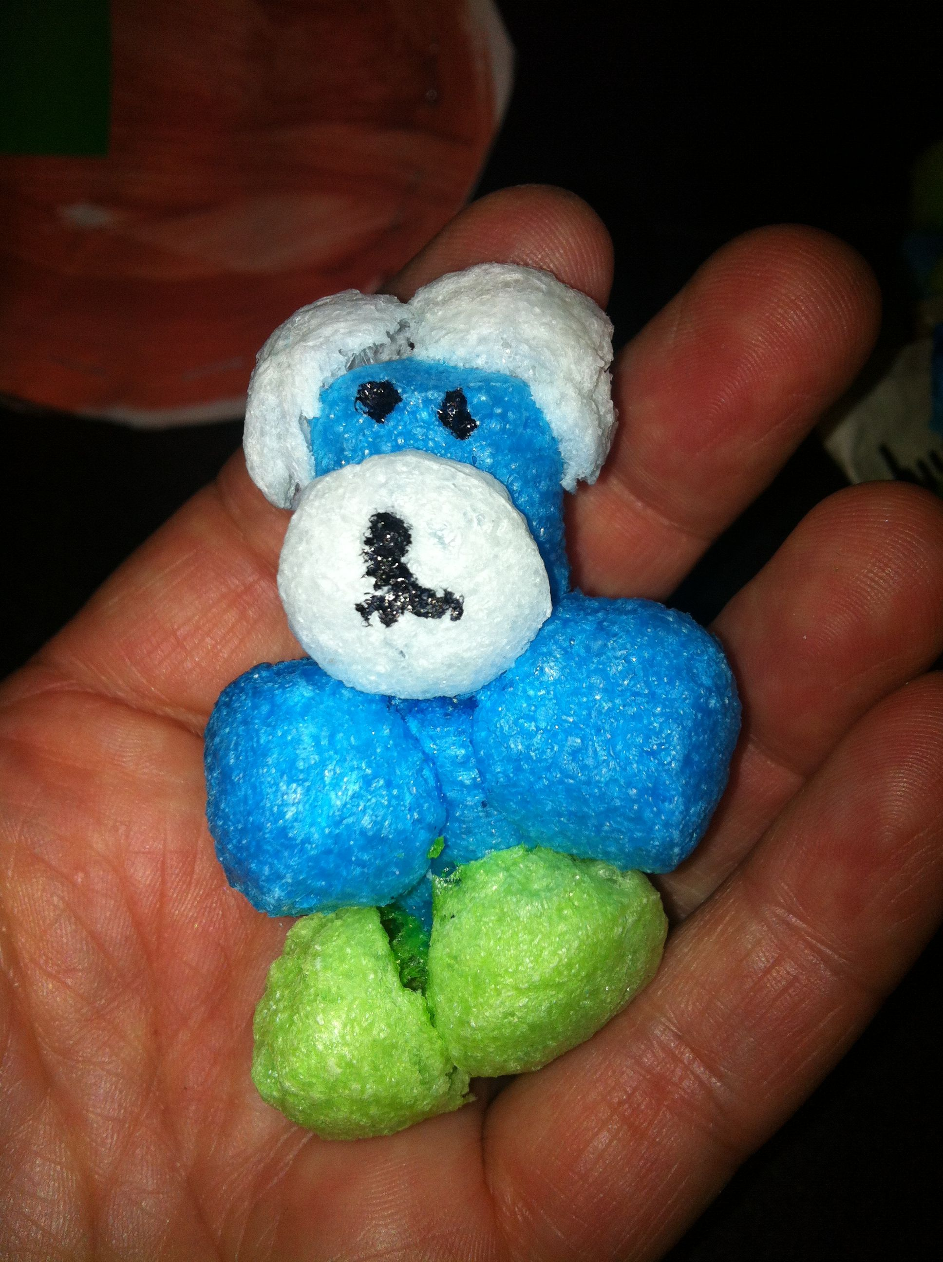 Little teddy made from foam balls that stick together with - Mattress made of balls ...